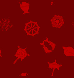 seamless pattern with eight auspicious symbols vector image
