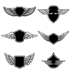 set emblems with wings isolated on white vector image