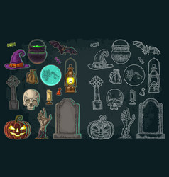 set for halloween party color vintage vector image