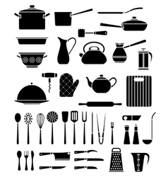 Set kitchen utensil and collection cookware vector