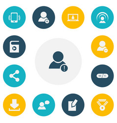 Set of 13 editable internet icons includes vector