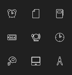 Set of 9 editable education outline icons vector