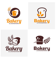set of food bread logo bakery emblem design food vector image