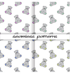 set of seamless patterns with teddies of different vector image