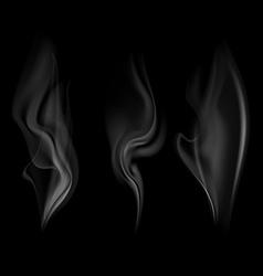 set of smoke isolated on a black background vector image