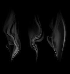 set smoke isolated on a black background vector image