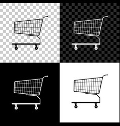 shopping cart icon isolated on black white and vector image
