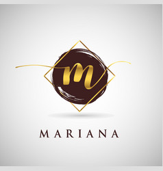 Simple elegance initial letter m gold logo type vector