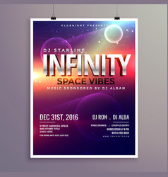 Space universe style music flyer template with vector