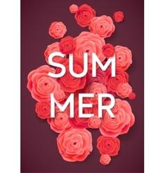 Summer Pink Roses on Dark Background vector image