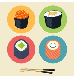 Sushi set Asian food vector image