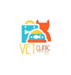 Vet clinic logo template original design colorful vector