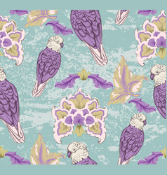 Vintage damask pattern parrot old 30s vector