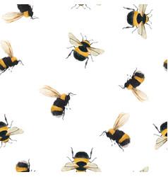 Watercolor bumblebee pattern vector
