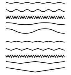 Wavy billow zigzag line element set lines with vector
