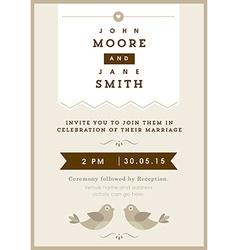 Wedding invitation gold love bird theme vector image