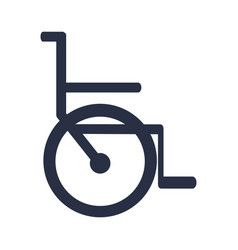 white background with dark blue icon of wheelchair vector image