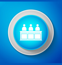 white jurors icon isolated on blue background vector image