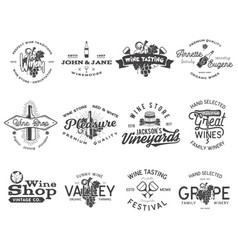 Wine black logos labels set winery wine shop vector