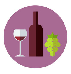 wine set winemaking products in flat style vector image