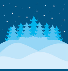 winter landscape with pines and sky with stars on vector image
