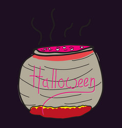 witches cauldron with potion isolated on vector image