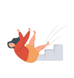 Woman falling down a flight stairs injury and vector