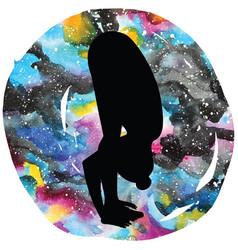 Women silhouette uttanasana forward fold yoga vector