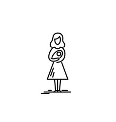 Young mother with bain her arms vector