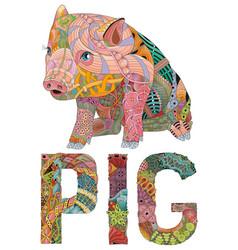 Zentangle stylized pig hand drawn decorative vector