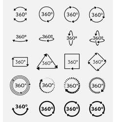 Angle 360 degrees icons set vector image