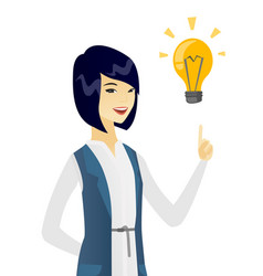 Business woman pointing at business idea bulb vector