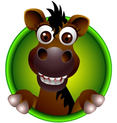 cute horse head cartoon vector image vector image