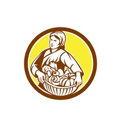 Female Organic Farmer Basket Harvest Retro vector image vector image