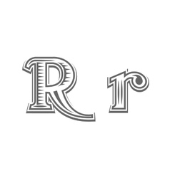 Font tattoo engraving letter r vector