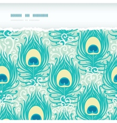 Peacock feathers horizontal torn frame seamless vector image