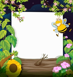 A bee and a white board vector image