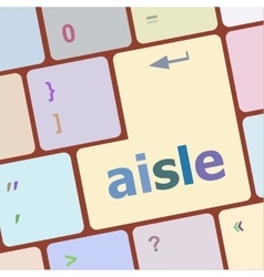 aisle words concept with key on keyboard vector image