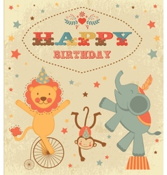 Birthday card with circus animals vector image