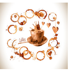 cup drawn pour coffee with splashes and blots vector image vector image