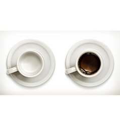 Empty and full coffee cups icons set vector image