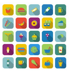 fast food color icons with long shadow vector image vector image