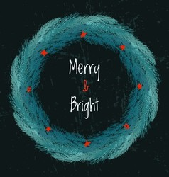 Ink hand drawn christmas wreath from fir tree vector image