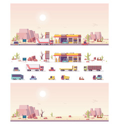 isometric low poly filling station vector image vector image