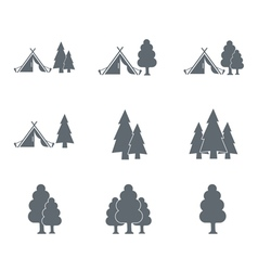 Set of 9 tourist tent and forest icons vector image