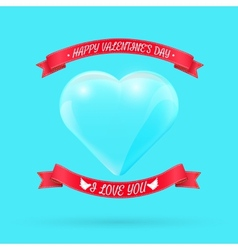 Valentines day background with glass heart vector image