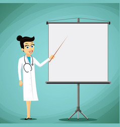 Woman doctor shows pointer on the white board vector