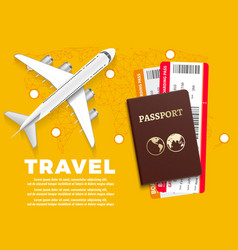 air travel banner with plane world map and vector image vector image