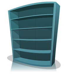 Cartoon empty library bookshelf vector