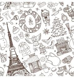 Paris winterDoodle christmas seamless pattern vector image vector image